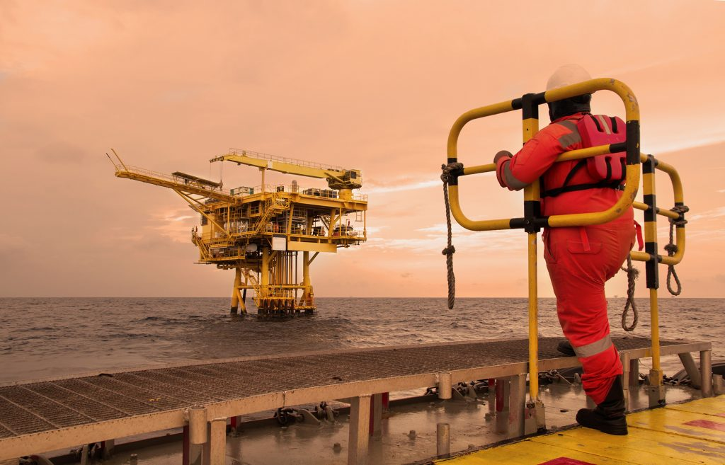 injury on offshore rig. oil rig, industrial. energy. power oil and gas